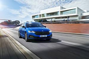 Desktop wallpapers Skoda At speed Blue Metallic Octavia Combi Sportline, Worldwide, 2021 Cars