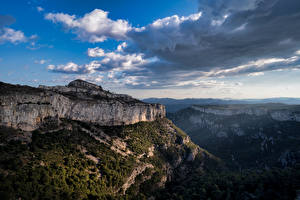 Pictures Spain Mountain Clouds Cliff Catalonia Nature