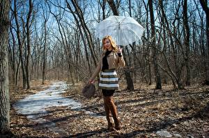 Picture Spring Victoria Borodinova Umbrella Jacket Skirt Legs Wearing boots Blonde girl young woman