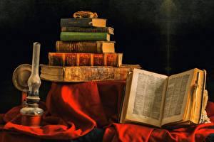 Photo Still-life Lamp Books Old