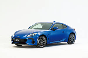 Wallpaper Subaru Blue Metallic White background BRZ, JP-spec, 2021 automobile