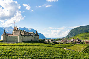 Desktop wallpapers Switzerland Castle Building Fields Aigle Castle Cities