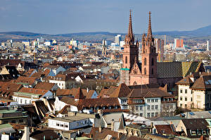 Pictures Switzerland Building Church Roof Basel, Basel-Stadt Cities
