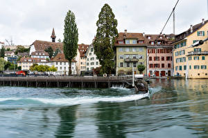 Wallpaper Switzerland Building Lake Marinas Lucerne