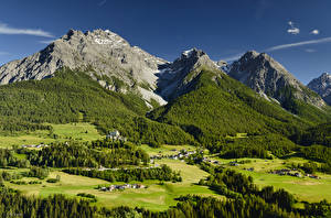 Wallpapers Switzerland Mountain Forests Alps Moss Village Tarasp Nature