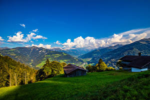 Wallpapers Switzerland Mountains Houses Landscape photography Alps Furna Nature