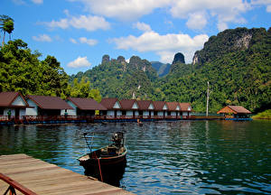 Images Thailand Mountain Lake Building Park Marinas Boats Cheow Lan Lake Khao Sok National Park Nature
