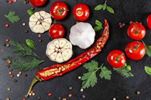 Fondos de Pantalla Tomate Ajo Piper nigrum Pimienta de chile Eneldo Alimentos imágenes