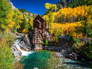 Images USA Autumn Mountains Trees Water mill Crystal Mill, Colorado Nature