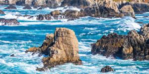 Hintergrundbilder USA Küste Kalifornien Felsen Big Sur Natur