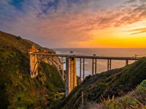 Bilder Vereinigte Staaten Küste Brücke Sonnenaufgänge und Sonnenuntergänge Kalifornien Bixby Creek Bridge Natur