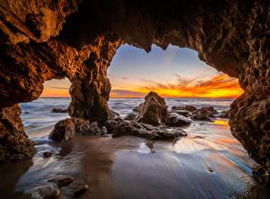 Fotos USA Küste Felsen Bogen architektur Kalifornien El Matador Beach