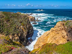 Hintergrundbilder Vereinigte Staaten Küste Ozean Kalifornien Felsen Big Sur