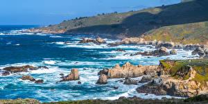 Fotos USA Küste Panoramafotografie Kalifornien Felsen Big Sur Natur