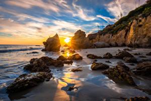 Pictures USA Coast Sunrise and sunset California Rock Sun Nature