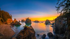 Wallpapers USA Coast Sunrise and sunset Cliff Oregon Nature