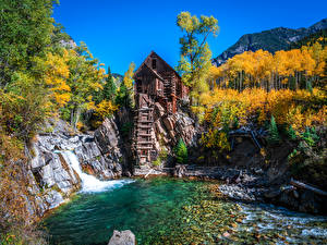 Pictures USA Mountains Autumn Trees Water mill Crystal Mill, Colorado Nature