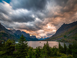 Picture USA Mountain Lake Park Clouds St. Mary Lake, Glacier National Park Nature