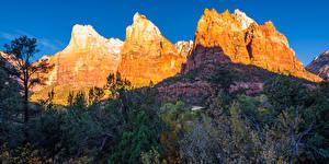 Hintergrundbilder Vereinigte Staaten Gebirge Parks Herbst Zion-Nationalpark Felsen Utah