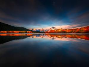 Wallpaper USA Mountains Parks Lake Scenery Grand Teton National Park, Wyoming Nature