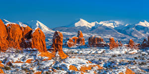 Pictures USA Mountains Parks Landscape photography Panoramic Snow Cliff Arches National Park, Utah Nature