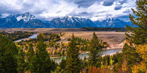 Photo USA Mountain River Panorama Landscape photography Parks Trees Grand Teton National Park, Snake River, Wyoming