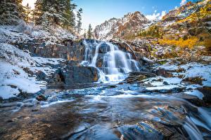 壁紙,美国,山,石,瀑布,加利福尼亚州,Lundy Canyon,大自然,