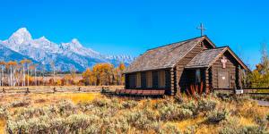 Wallpapers USA Park Autumn Mountain Church Wooden Cross Wyoming, Grand Tetons National Park Nature