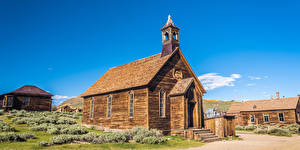 Wallpaper USA Parks Church Houses California Wooden Bodie State Historic Park Nature