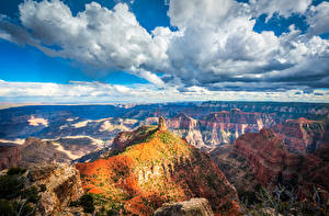 Image USA Parks Grand Canyon Park Scenery Clouds Cliff Canyon Arizona Nature