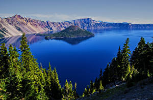 Hintergrundbilder USA Parks Gebirge See Insel Crater Lake National Park Oregon Natur