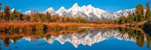 壁紙,美国,公园,山,湖泊,パノラマ,風景攝影,树,倒影,Grand Teton National Park, Wyoming,大自然,