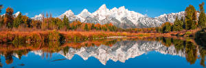 Wallpapers USA Park Mountain Lake Panoramic Scenery Trees Reflection Grand Teton National Park, Wyoming Nature
