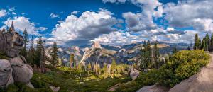 Fotos Vereinigte Staaten Parks Gebirge Panorama Landschaftsfotografie Kalifornien Wolke Felsen Yosemite Bäume