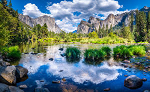 Image USA Parks Mountain River Stones Landscape photography California Yosemite Cliff Clouds Nature