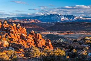 Images USA Park Mountains Landscape photography Clouds Crag Arches National Park, Utah Nature