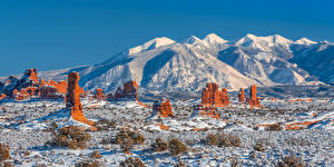 Image USA Parks Mountain Winter Landscape photography Panorama Crag Arches National Park, Utah Nature