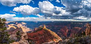 Hintergrundbilder Vereinigte Staaten Parks Panorama Grand Canyon Park Landschaftsfotografie Canyons Wolke Arizona Natur
