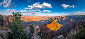 Pictures USA Parks Panorama Landscape photography Grand Canyon Park Canyon Clouds Cliff Nature