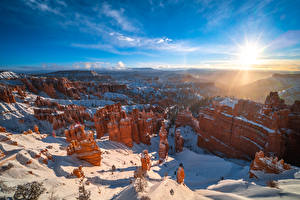 Bilder USA Parks Landschaftsfotografie Felsen Canyons Sonne Bryce Canyon National Park, Utah