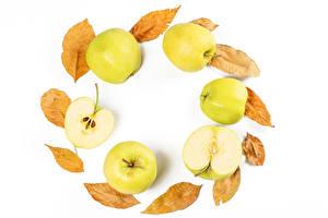 Desktop hintergrundbilder Äpfel Weißer hintergrund Blattwerk Lebensmittel