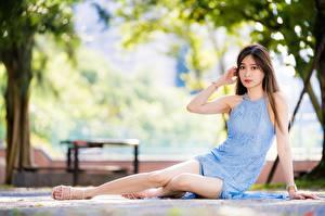 Fotos Asiatisches Bokeh Braune Haare Kleid Hand Bein Sitzt junge frau