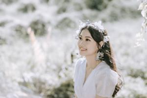 Desktop hintergrundbilder Asiatische Bokeh Brünette Blick Lächeln Mädchens