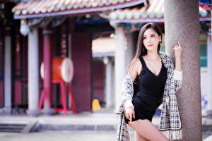 Fotos & Bilder Asiatische Bokeh Pose Kleid Blick Mädchens