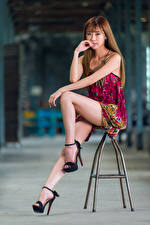Image Asian Chair Sit Frock Legs Glance Brown haired Girls