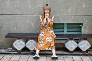 Desktop wallpapers Asiatic Pretty Bench Sitting Dress Glance young woman