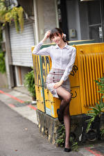 Pictures Asiatic Posing Smile Legs young woman