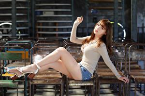 Wallpaper Asian Sit Legs Brown haired Chair young woman