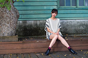 Wallpapers Asian Sitting Legs Glance young woman
