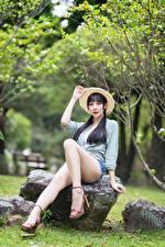 Wallpaper Asian Stone Brunette girl Sitting Legs Formal shirt Shorts Hat Bokeh Girls